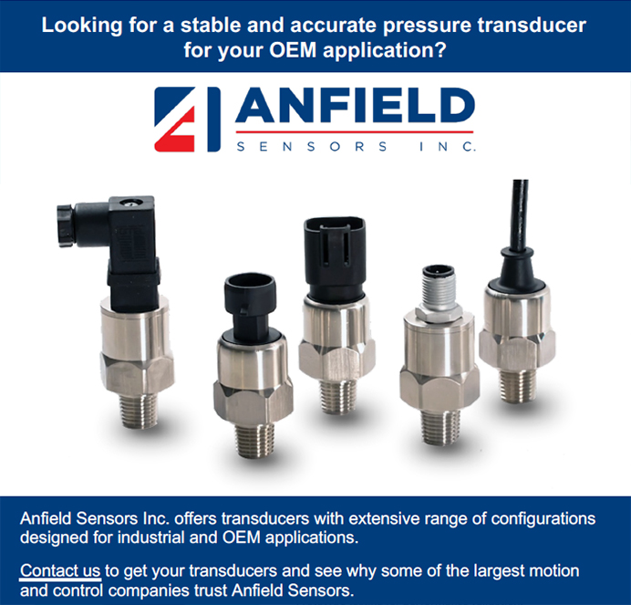 Anfield Sensors Inc. offers transducers with extensive range of configurations designed for industrial and OEM applications.