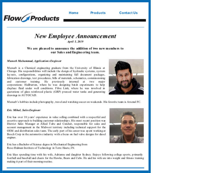 New Employee Announcement