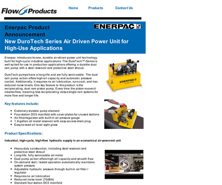 Flow Products | Fluid Conveyance, Hydraulics, Pneumatics