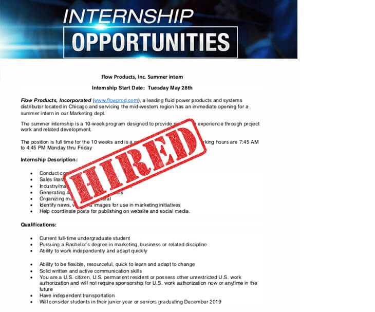 Flow Products, Inc. Summer Intern
