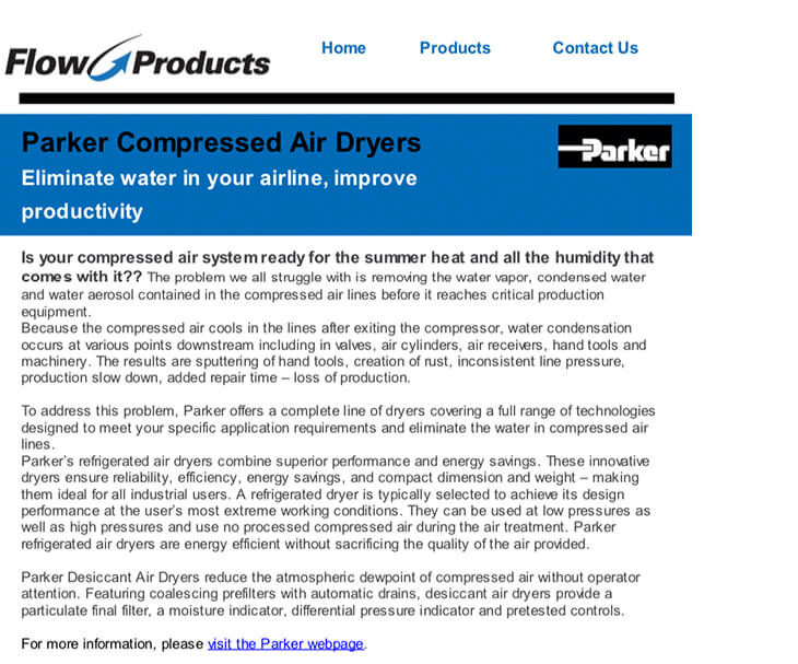 Parker Compressed Air Dryers