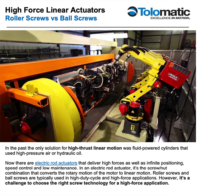 Tolomatic: High Force Linear Actuators