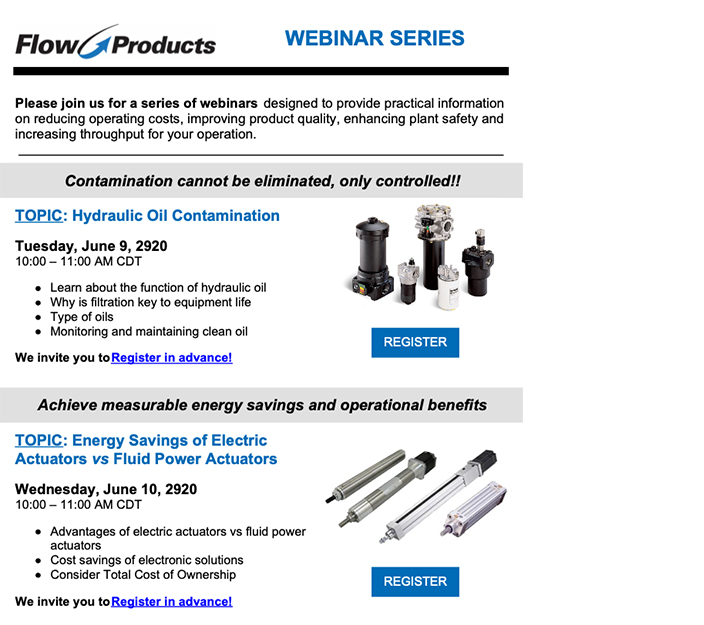 Flow Products Webinar Series