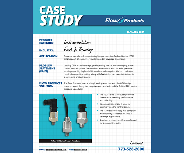 Flow Products Case Study Instrumentation-Food and Beverage